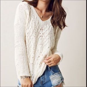 Free People Cross My Heart Cable Knit Sweater